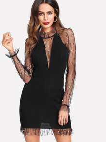 Pearl Beading Vine Mesh Panel Dress