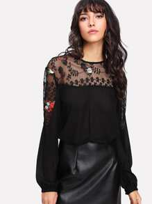Embroidered Lace Yoke Keyhole Back Top
