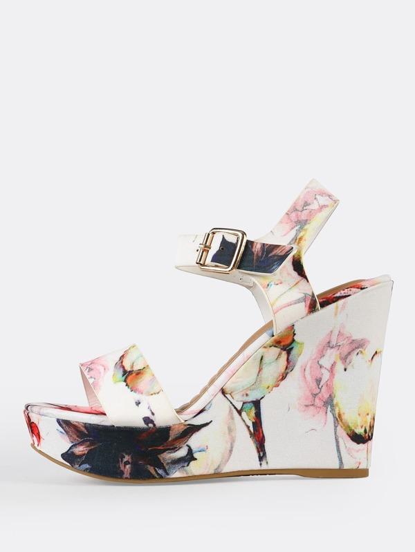 0d4013b4f7842 Floral Open Toe Platform Wedge Sandals WHITE