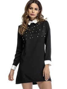 Contrast Collar & Cuff Pearl Beading Dress