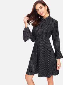 Tie Neck Bell Cuff Polka Dot Dress