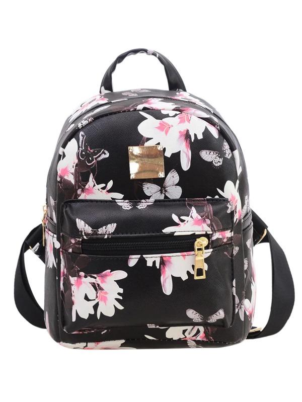 f0741b117ce4 Чёрный рюкзак с цветочным принтом | SHEIN