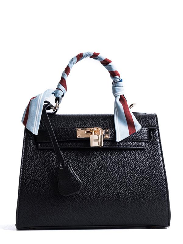 Metal Lock Design PU Bag With Scarf Black