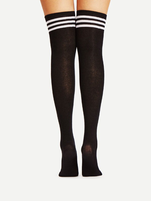 ec21661d9ac Black Varsity Stripe Over The Knee Socks