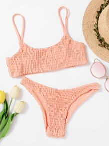 Smocked Cami With High Leg Bikini Set