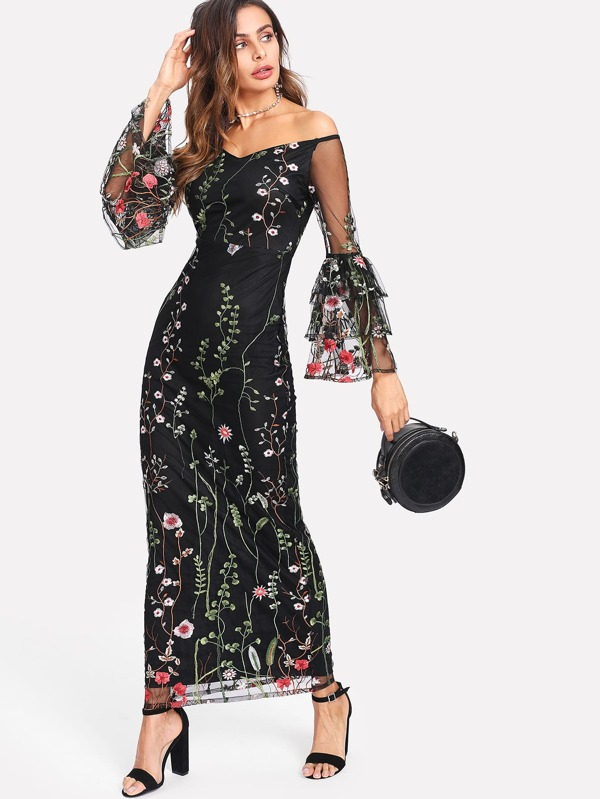 ae45d4b568 Botanical Embroidered Mesh Overlay Bardot Dress | SHEIN IN