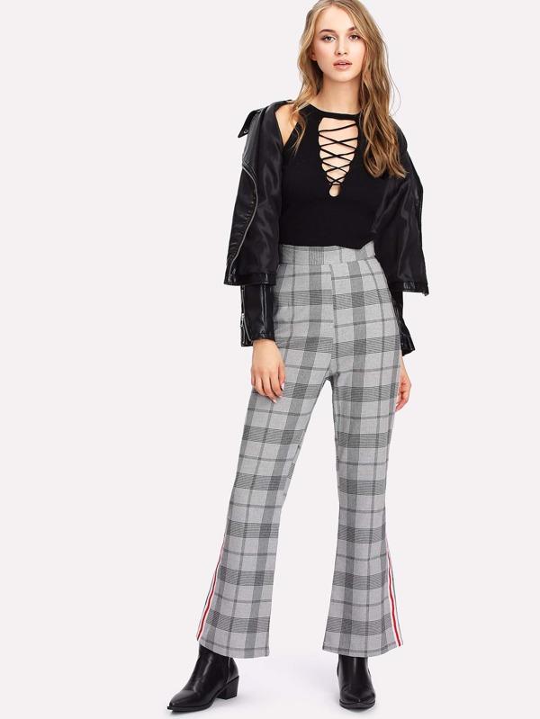 Popular Stripe Tape Side Glen Plaid Pants -SheIn(Sheinside) CE04