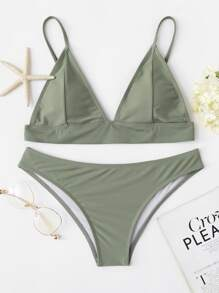 Plunge Top With Hipster Bikini Set