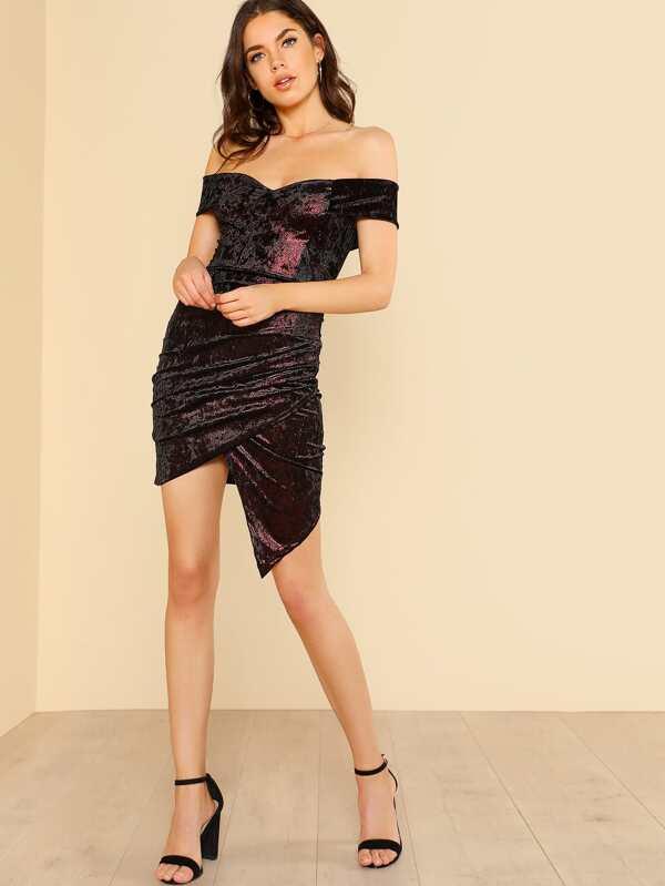 29a39ba9cad4 Crushed Velvet Off Shoulder Bodycon Dress BLACK RED