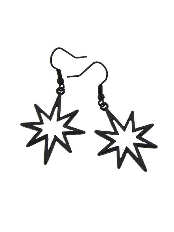Geometrische Stern Für Ohrringe Frauen Schwarze xoerdBC