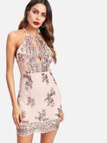 Sequin Cluster Keyhole Halter Dress