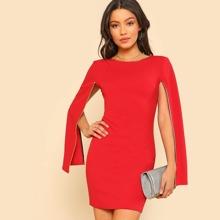 Contrast Tipping Cloak Sleeve Dress