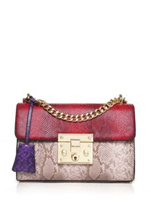 Color Block Croc Embossed Chain Bag