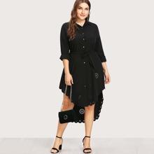 - Plus Laser Cut Out Scallop Edge High Low Shirt Dress