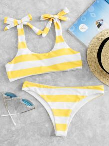 Striped Shoulder Tie Top With Low Rise Bikini Set