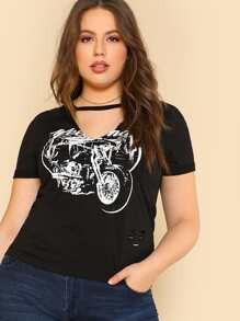 cutout neck graphic tee