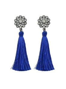 Blue Boho Earrings With Tassel And Rhinestone Drop Earrings