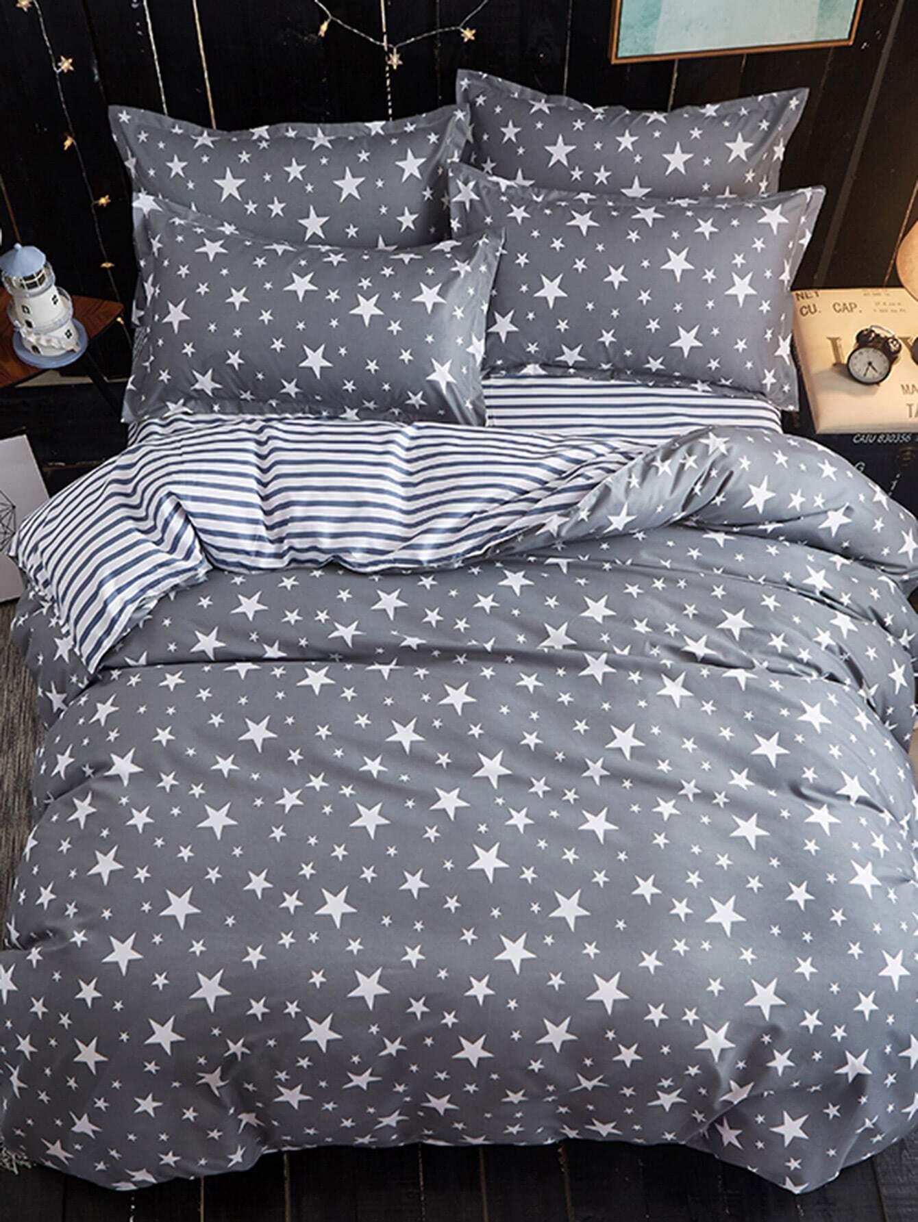 2 2m 4pcs Star Print Duvet Cover Sheet Sham Set