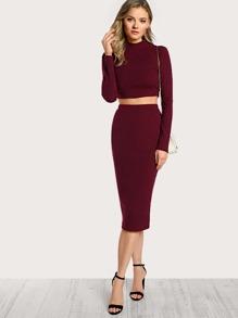 af5fd60ae3 Cheap High Neck Crop Top & Pencil Skirt Set for sale Australia | SHEIN