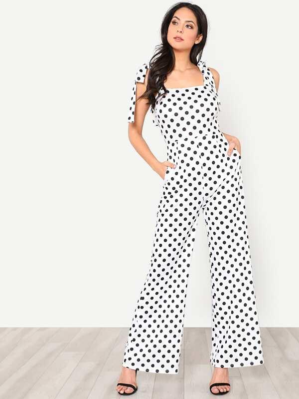 8fb00a0ffd5 Self Tie Shoulder Wide Leg Polka Dot Jumpsuit