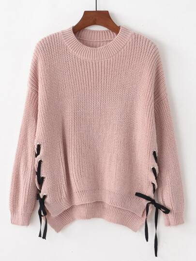 Lace Up Side Drop Shoulder High Low Sweater