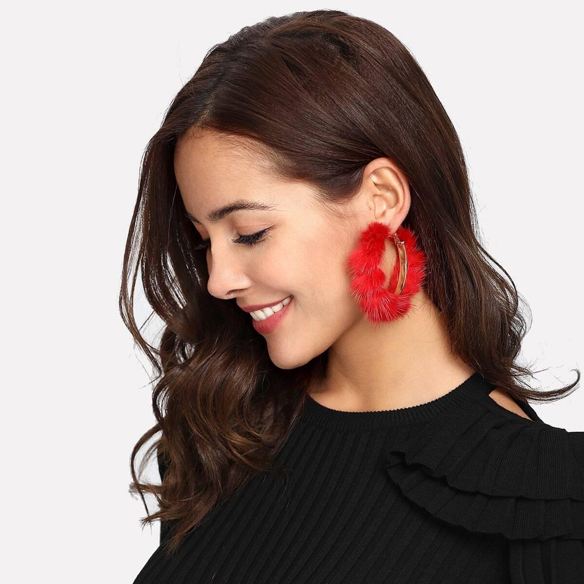 - Faux Fur Overlay Hoop Earrings