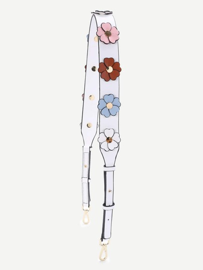 Flower Decorated PU Bag Strap
