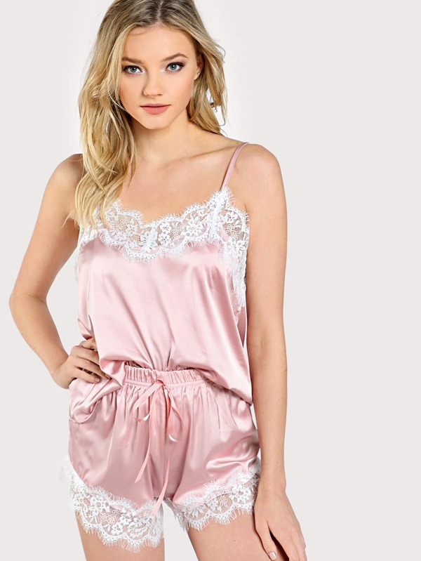 8c6a62b064 Cheap Lace Trim Satin Cami And Shorts Pajama Set for sale Australia ...