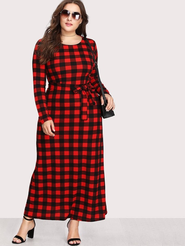 Plus Check Plaid Full Length Dress