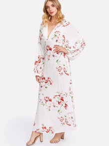 2135178435b Cheap Plunge Neck Split Back Dolman Sleeve Floral Dress for sale Australia