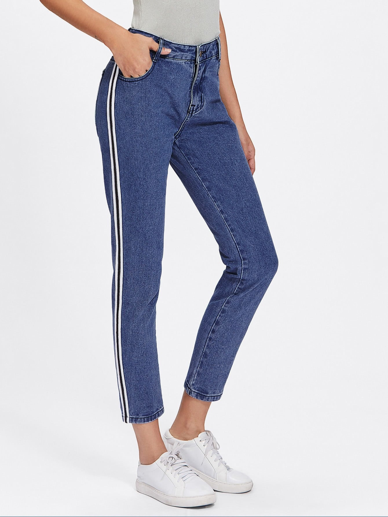 Jeans Rayure C T French Romwe
