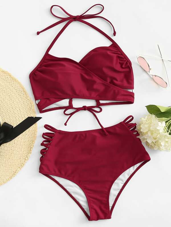 7078d17630 Tie Back Halter Top With Ladder Cut Out Bikini | SHEIN