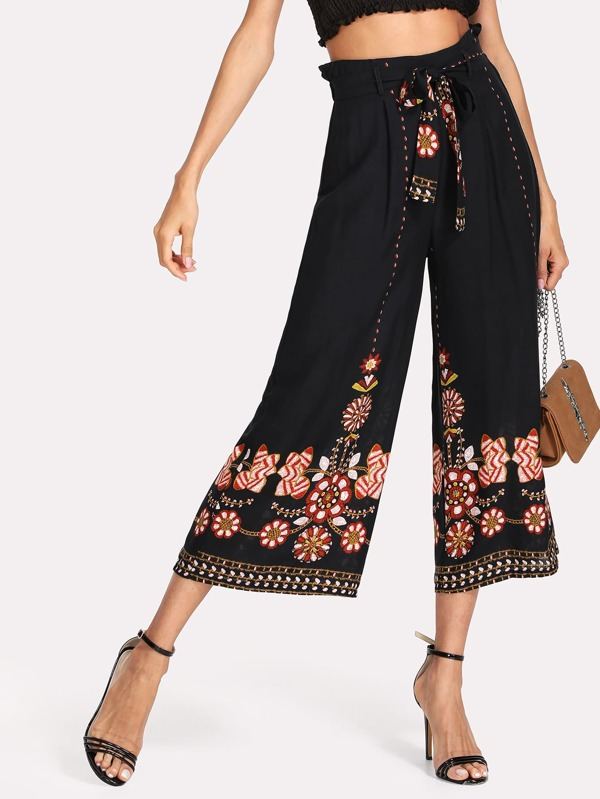 e95b9dd530 Flower Print Self Belted Culotte Trousers   SHEIN UK