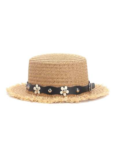Flower Decorated PU Band Straw Hat