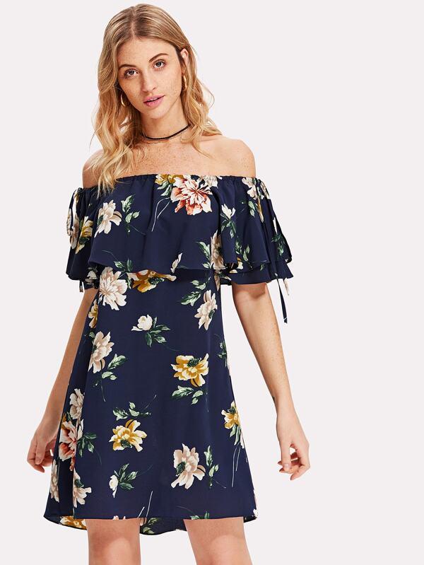 083e15f675 Floral Flounce Bardot Dress   SHEIN