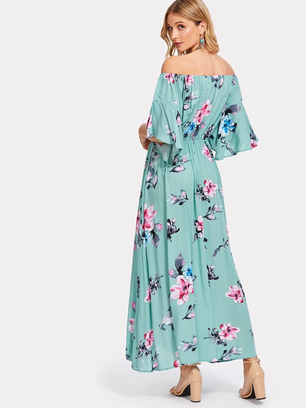 8cd82a8d39b8 Flower Print Drawstring Waist Bardot Dress | SHEIN