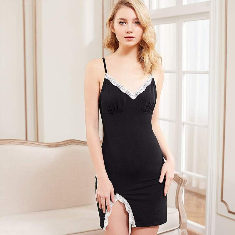Slit Side Lace Detail Cami Nightdress, Black