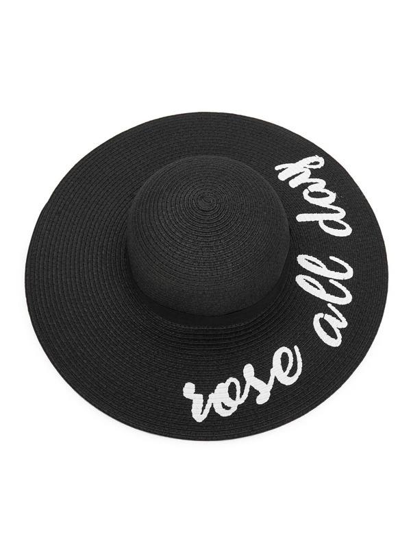 b478e958788c8 Sombrero de paja de ala ancha con estampado de letras