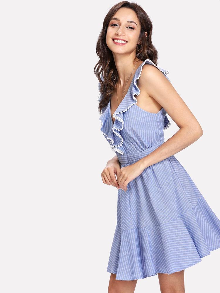 9b68b7b044 Crochet Pompom Trim Flounce Embellished Striped Dress | SHEIN
