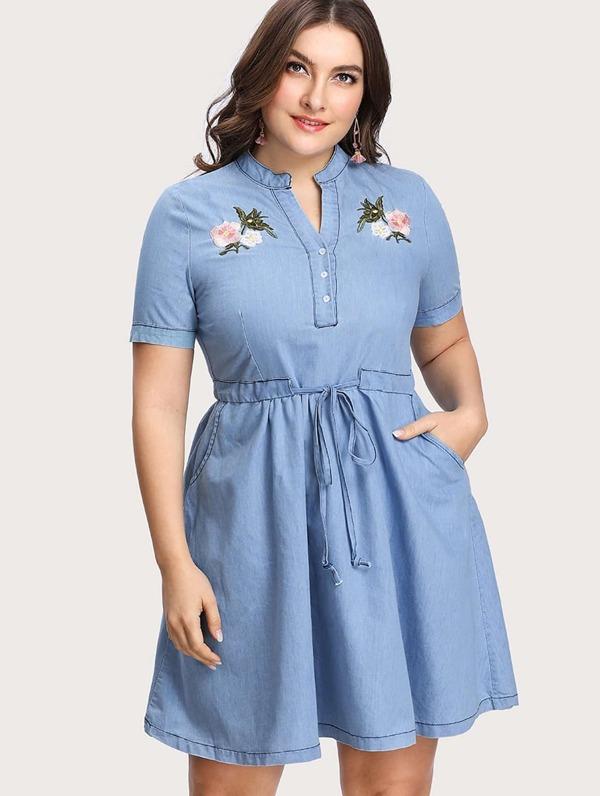 821f8972eb Plus Flower Embroidered Drawstring Waist Denim Dress