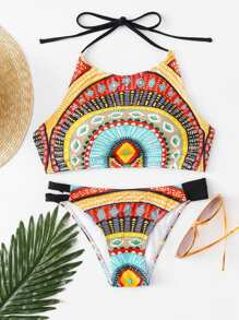 Geometric Pattern High Neck Halter Bikini Set