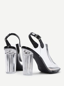 00984a9564 Peep Toe Clear Design Block Heeled Pumps | SHEIN UK