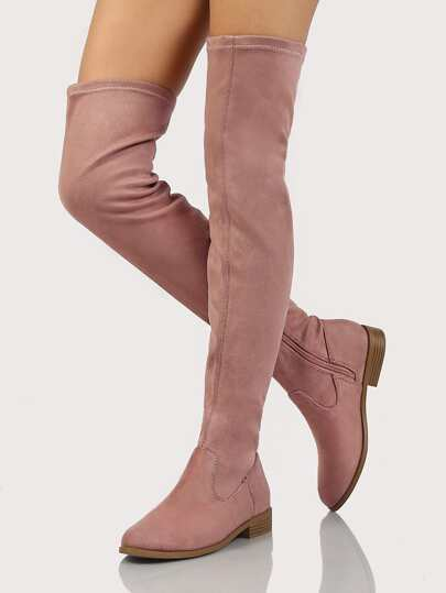 Single Stitch Low Heel Thigh High Boots DARK BLUSH