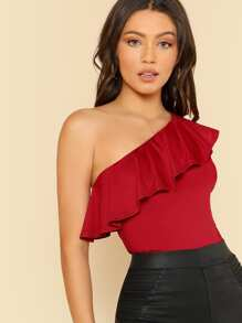 Flounce One Shoulder Fitted Tee