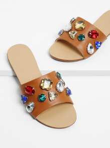 Rhinestone Design Flat Sandals