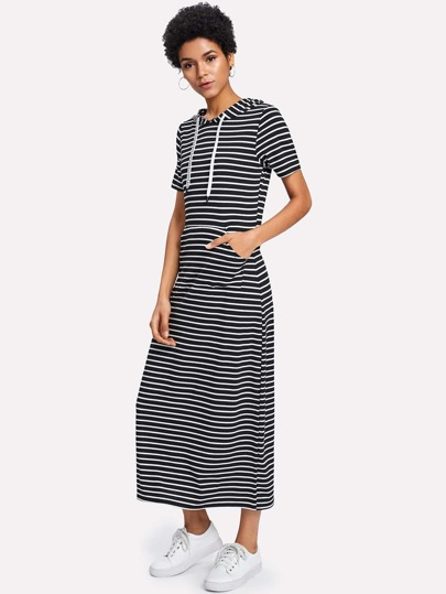 Contrast Stripe Knitted Hoodie Dress