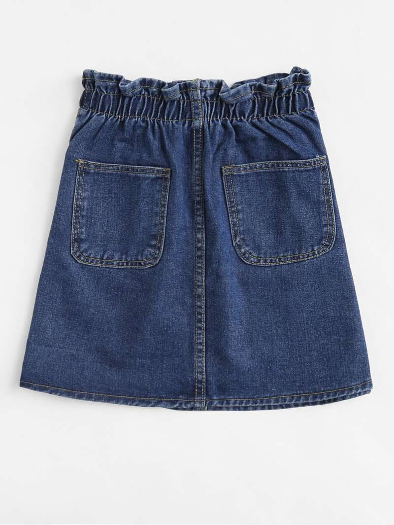 5d6dab51075 Falda denim con bolsillos y cintura elástica   ROMWE