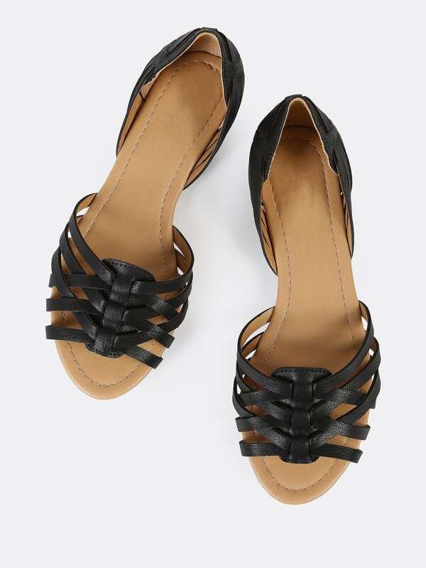 a347d40231f4 Criss Cross Strappy Flat Sandals BLACK