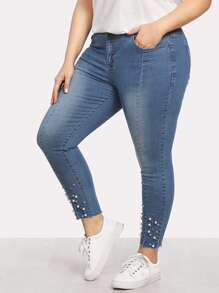 Plus Pearl Beaded Raw Hem Jeans