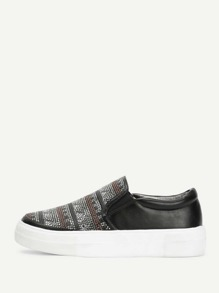 Geometric Pattern Slip On Sneakers